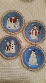 DEBBIE MUMM, Sakura Christmas Dishes, Snowman Pattern, retired.