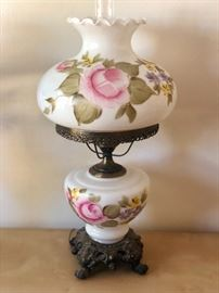 Hand painted Converted Victorian oil lamp