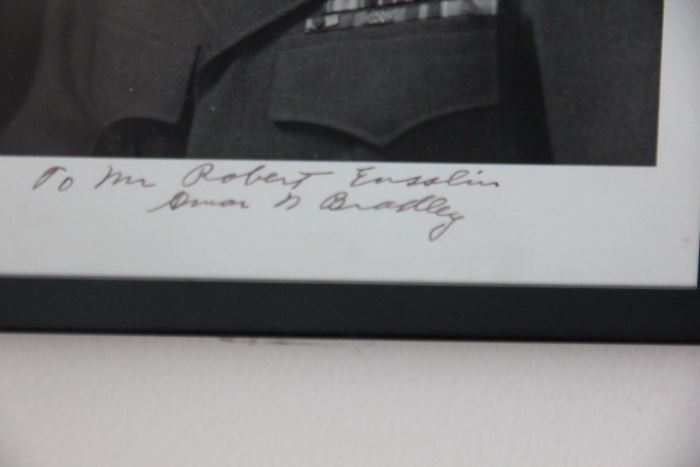 signed by Army General Omar Bradley, WWII and Korea