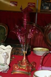 "28"" cranberry art glass 4 horn epergne with a polychromed wooden base"