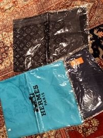 Hermes and Vuitton Scarves
