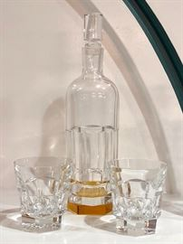 Baccarat Decanter with Amber crystal base - with matching glasses