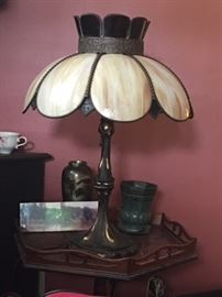 Glass leaded lamp, not Tiffany style