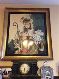 Watercolor under glass mantle painting and antique mantle clock.