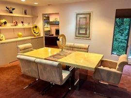 Thayer Coggin - Milo Baughman chrome base dining table & 6 chairs
