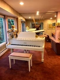 Schumann white baby grand piano