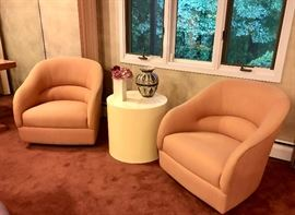 Pair mid-century Milo Baughman style swivel chairs - MCM white cylinder end table