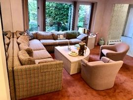 Vintage designer den furniture- sectional, chairs & coffee table