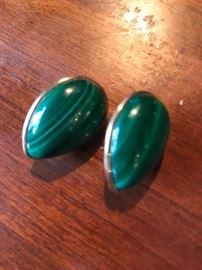14k gold and malachite earings