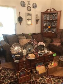 Craftmaster oversized sofa, like new-coffee table, corner hutch