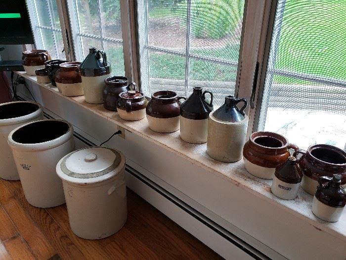 Large assortment of crocks.