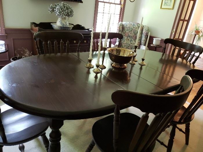 Dark Pine Formal Dining Rm Set w/2 leaves,  8 chairs, hutch and dry sink.