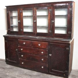 Salvaged Break Front Built In Cabinet
