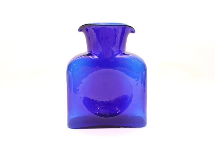 Blenko Double Spouted Cobalt Glass Pitcher