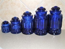 VINTAGE L.E. SMITH MOON and STARS CANISTER SET - NICE !!!