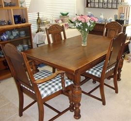 1920's -  PHENOMENAL DRAWLEAF REFECTORY TABLE WITH 6 BEAUTIFULLY CARVED CHAIRS (SEE NEXT PHOTO)