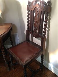 Antique barley twist chair - great as an entry seat, a desk chair, or extra dining chair