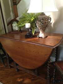 Barley twist antique drop-leaf table