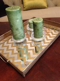 Chevron mirrored tray; set of 3 candles