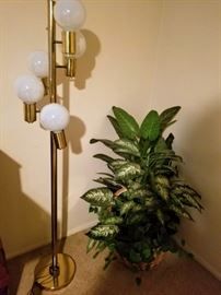 Floor Lamp and Faux Plant
