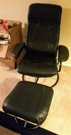 Pleather Chair with Foot Stool