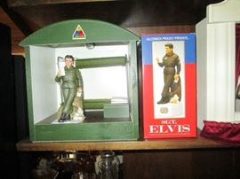 Living Room: Army Barracks ( Bunk Bed), Trunk Elvis Army Liquer Bottle