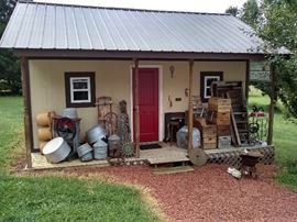 Lots of wood crates, aluminum wash buckets, chicken feeders & water bins, cast metal cauldrons, cast fireplace items, sewing machine stand, industrial cart and more!