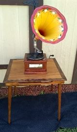 Vintage portable Victrola- works! See demo on our Facebook page! Vintage wood folding card table.