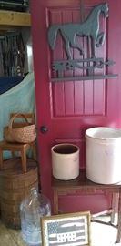 Lots of primitives! Old crocks, splint basket, horse, barrel, school chair, carboy bottle, framed print and occasional side table.
