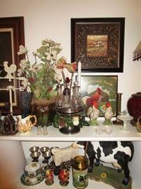 Antique cruet set, decorative prints, chicken, farm animals, glassware, etc.