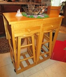 Multi-use kitchen island w/ drop down table top/table w/ 2 chairs,