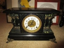 Antique mantle clock w/ key