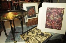 A large assortment of Selma Hollander paintings, unframed, Metal 2 piece hand painted tray