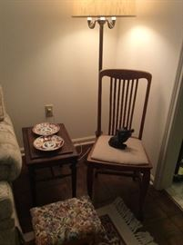 A few smaller furniture items, we have two matching oak chairs