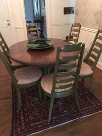 "Mid-century American of Martinsville ""Sunburst"" Dining Table with 3 leaves and a matching set of 8 Ladderback Chairs with flamestitch seat pattern"