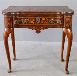 Dutch Marquetry Inlaid Game Table