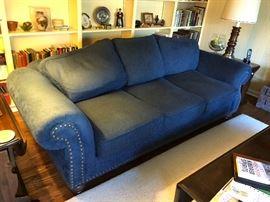 Walter E Smithe sofa, navy blue fabric