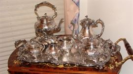 John Turton hand chased Sheffield silver plate tea, coffee, chocolate set