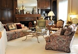 View of the large, well appointed living area on the 1st floor - features fine furniture, lighting and decor.