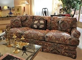 One of 2 Drexel sofas in like new condition - you will find Baldwin Brass and Virginia Metalcrafters pieces on the coffee table.