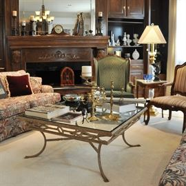 Large, elegant square metal and glass coffee table in a very sleek design (has a matching console table)