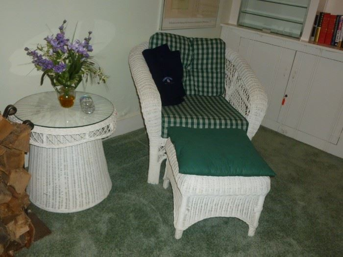 Quality Wicker chair, ottoman & table