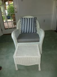 Another wicker chair & ottoman