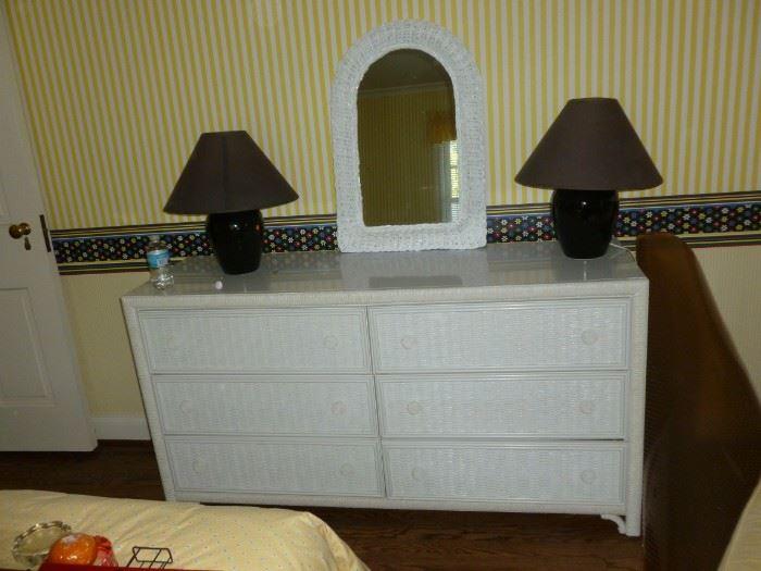 Quality Wicker dresser & mirror