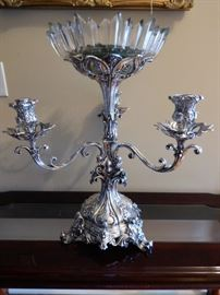 Ornate & tall antique silver plate 3-light epergne which came from the Covington mansion of Belmont Dennis, former owner of Covington News.