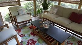 Bamboo porch furniture. Couch, two chairs and coffee table