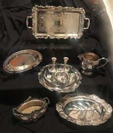 lots of silver-plate serving pieces