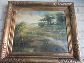 one of two oil paintings signed Charles Hetherington (well known Illinois artist)