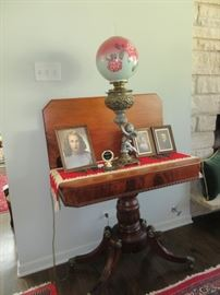 Oil lamp, Antique card table (photos not included in sale)