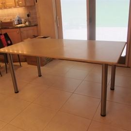 MODERN TRAVERTINE MARBLE TABLE WITH BRUSHED NICKEL LEGS
